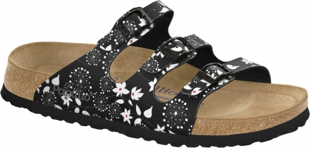 Papillio Pantolette Florida BF soft flowers black Gr. 35 - 43 - 322403 - Vorschau
