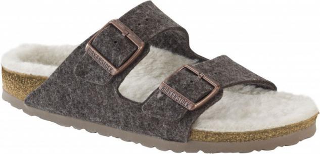 Birkenstock Pantolette Arizona WZ cacao happy lamb beige Gr. 35 - 46 - 1002085 - Vorschau