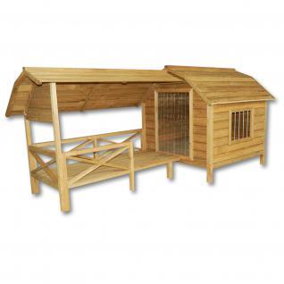 XXL Hundehütte Hundehaus Holz Balkon Terrasse Lamellentüre