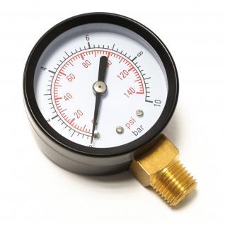 """Druckanzeige Druckbehälter/ Manometer radial DN8 (1/4"""") 12.9mm 0-10bar"""