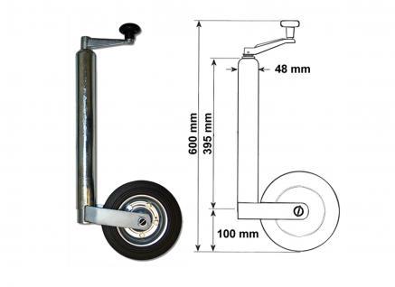 362kg - DM 48mm Vollgummi Anhänger Stützrad Anhängerrad Bugrad