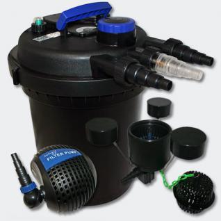 Set: Druckfilter 10000l 11W UV Teichklärer 115W Pumpe Skimmer