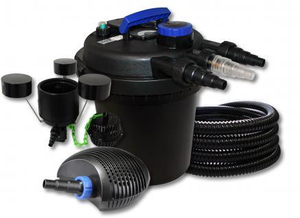 DruckteichfilterSet 6000l 11W UVC, 70W Pumpe Schlauch Skimmer CSP-250