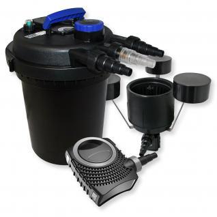 Set: Druckfilter 10000l 11W UV Teichklärer 70W Pumpe Skimmer