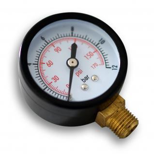 """Druckanzeige Druckbehälter/Manometer radial DN8 (1/4"""") 12.9mm 0-12bar"""