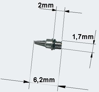 Airbrushpistole 0, 4 mm Düse Nadel und O-Ring