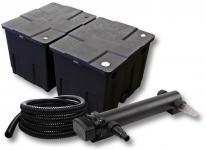 2-Kammer FilterSet für 60000l mit 24W UVC 3er-Teichklärer 5m Schlauch