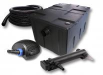 1-Kammer FilterSet 60000l, 24W UVC 3er-Klärer CTF-7000 Pumpe Schlauch