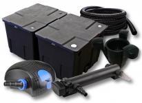 2-Kammer FilterSet 60000l 36W UV 3er-Klärer CTF-Pumpe Schlauch Skimmer