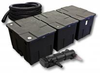 3-Kammer FilterSet für 90000l mit 24W UVC 6er-Teichklärer 5m Schlauch