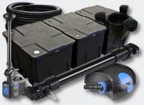 3-Kammer Set 90000l 72W UVC Klärer NEO10000 80W Pumpe Schlauch Springbrunnen Skimmer