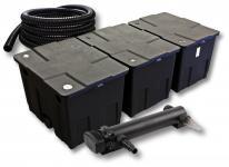 3-Kammer FilterSet für 90000l mit 24W UVC 3er-Teichklärer 5m Schlauch