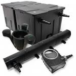 Set: Teichfilter 60000l 72W UVC Teichklärer 80W Pumpe Skimmer