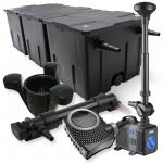 3-Kammer Filter Set 90000l 36W UV Klärer NEO10000 80W Pumpe Springbrun