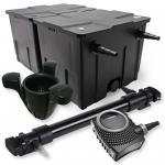 2-Kammer Filter Set 60000l 72W UVC 6er-Klärer NEO10000 80W Pumpe Skimmer