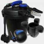 Set Druckfilter 6000l 11W UVC Pumpe Springbrunnen Skimmer