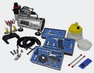 Profi Airbrush Kompressor Set mit 3 Airbrushpistolen AS18-2