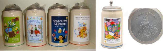 Oktober fest Bier krug sammlung von 1989- 2014 mit Zinn deckel Wiesn - Vorschau 2