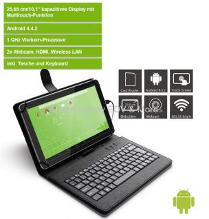 tablet 10 zoll android pocket pc mit tastatur und tasche. Black Bedroom Furniture Sets. Home Design Ideas