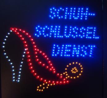 Schuh- SCHLÜSSEL DIENST LED Leucht reklame Display Werbung - Vorschau 1