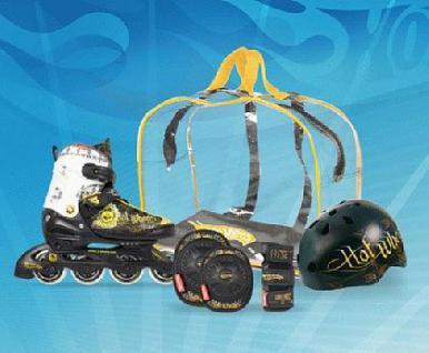 Inline Skate Set Helm Rollschuhe Schützer 34-37