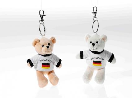Schlüsselring Bär mit Shirt Deutschland, 1 Stück, sortierte Ware