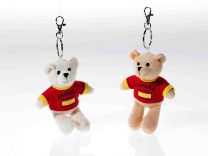 Schlüsselring Bär mit Shirt Spanien, 1 Stück, sortierte Ware