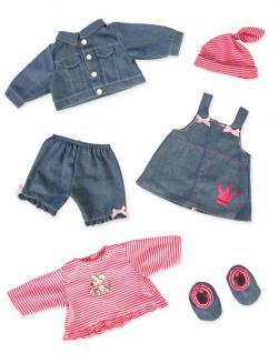Jeanskleiderset für Puppen, Grösse 38-46cm