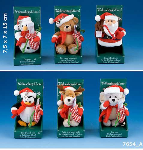 weihnachtliche Plüschfigur als Weihnachtsgeldbote