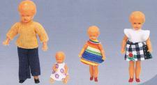 Puppenfamilie 4-teilig, aus Kunststoff