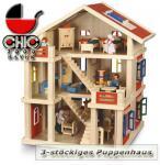 Puppenhaus 3-stöckig mit Spielfiguren