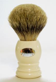 H.Baier Rasierpinsel Dachs Silberspitz-Haar- Qualität mit Griff aus Kunstoff & Acryl Elfenbein
