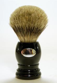 H.Baier Rasierpinsel Dachs Silberspitz-Haar- Qualität mit Griff aus Kunstoff & Acryl Schwarz