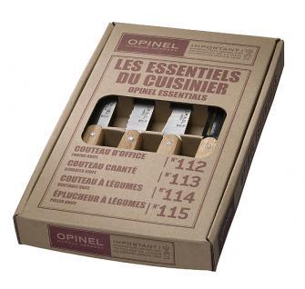 Opinel Küchenmesser-Set, 4-teilig, rostfreier Sandvik-Stahl, Buchenholz-Griffe