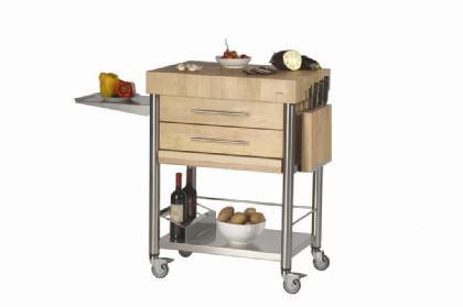 JOKO Küchenwagen 2 Schubladen Platte Hirnholz