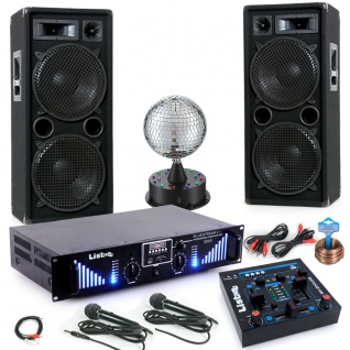 3000W PA Party Musik Anlage Boxen MP3 USB SD Endstufe Mixer 2x Mikro DJ-Blue 5