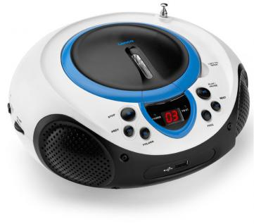 Tragbarer CD-Player MP3 USB Anschluss Radio Tuner AUX LED Lenco SCD-38 USB blau