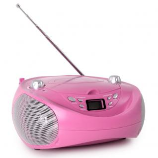 Tragbare Stereoanlage Musikanlage CD-/MP3-Player UKW-Radio USB AUX TCU 205 pink