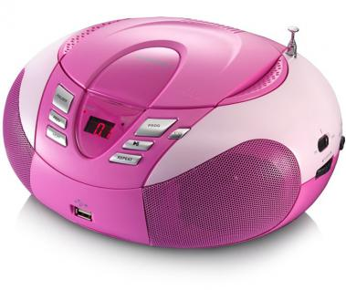 Multimedia CD-Player UKW MW Radio Tuner MP3 WMA USB LED Display Lenco SCD-37 USB pink