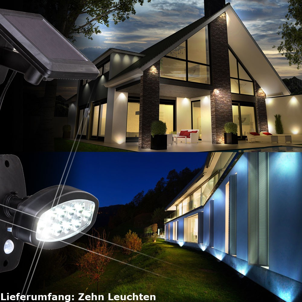 10er set led solar au en leuchten bewegungsmelder haus t r wand strahler lampen kaufen bei www. Black Bedroom Furniture Sets. Home Design Ideas