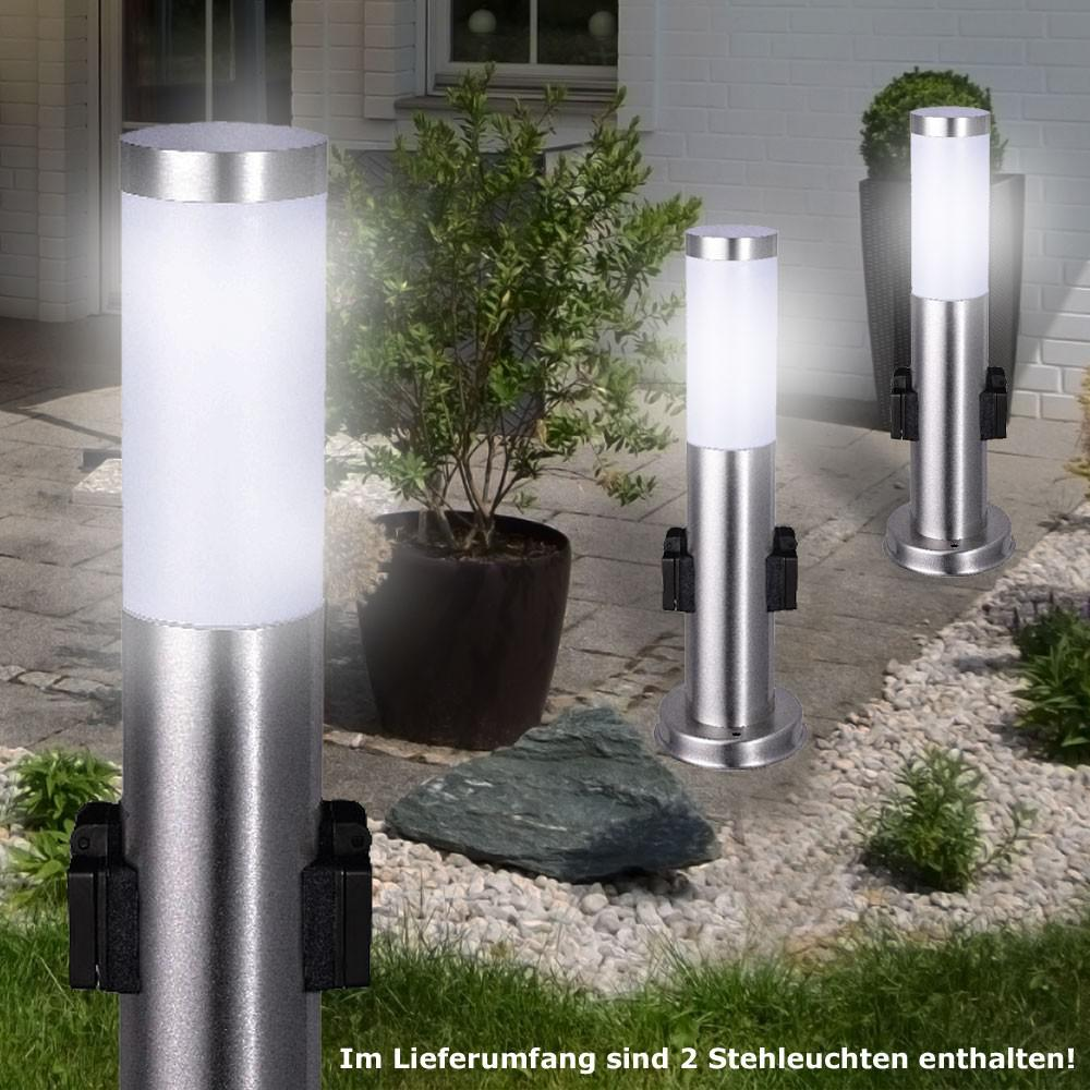 2er set 7 watt led edelstahl outdoor steh lampe energie. Black Bedroom Furniture Sets. Home Design Ideas