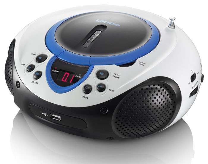 tragbarer cd player mp3 usb anschluss radio tuner aux led lenco scd 38 usb blau kaufen bei www. Black Bedroom Furniture Sets. Home Design Ideas