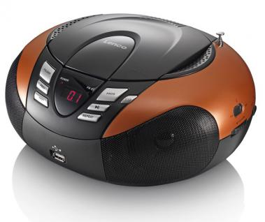 Tragbarer CD-Player mit UKW MW Radio Tuner MP3 WMA USB LED Display Lenco SCD-37 USB orange