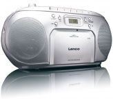 Stereo Musik Sound Audio FM Radio Anlage CD-Player tragbar Kassettenplayer Lenco SCD-42 silber