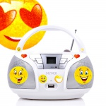 Kinder Lautsprecher CD Player USB Radio im Set inklusive Smiley Sticker
