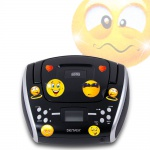 Kinder Stereo CD Player Hifi Anlage FM Radio AUX Eingang Boombox portable inklusive Smiley Aufkleber