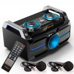 Musik Stereo Anlage tragbar LED´s Boombox System BLUETOOTH USB SD MP3 im Set inkl. 2 Mikrofone