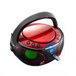 Design Musik Party Audio Anlage USB Bluetooth Boombox CD Player MP3 Farbwechsler Lenco SCD-550 rot