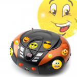 Tragbarer CD-Player mit UKW MW Radio Tuner MP3 WMA USB mit Smiley Sticker