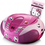 CD-Player UKW MW Radio Tuner MP3 WMA USB LED Display im Set inklusive Hello Kitty Stickerbuch